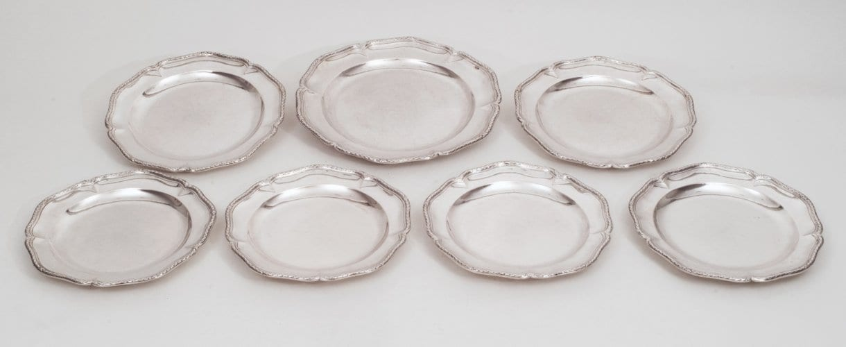 Silver dinner plates, French