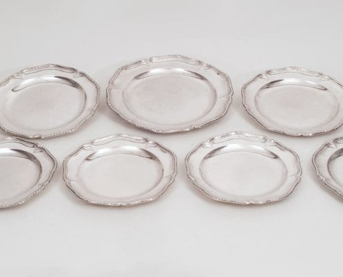 Set silver dinner plates, French 18th c.
