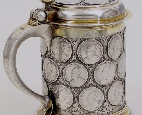 Silver large tankard with coins, Berlin 17th century