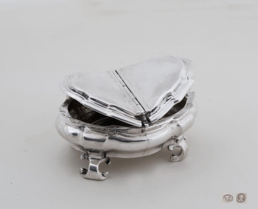 Silver spice box, two compartments