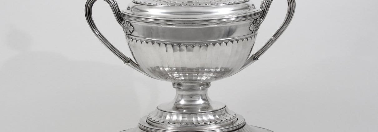 Silver soup tureen, stand, 19th c.