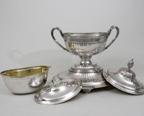 silver tureen, covered liner, neoclassical
