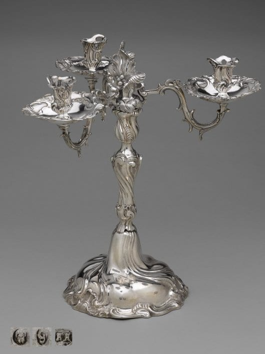 silver candelabrum, three-light