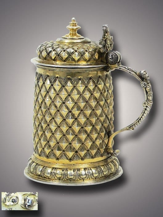 Silver Gilt Tankard with Diamond-Decor, German 16th century