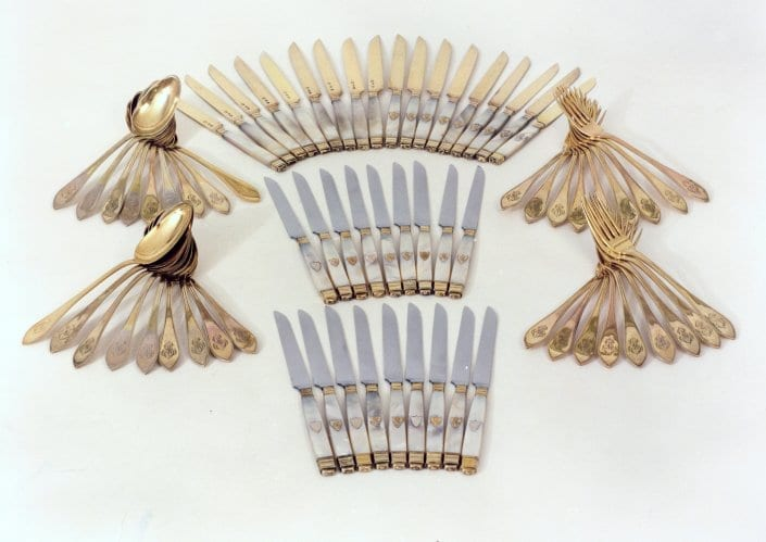 French silver-gilt cutlery set