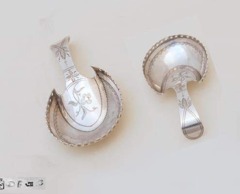 tea caddy spoon silver, antique georgian silver
