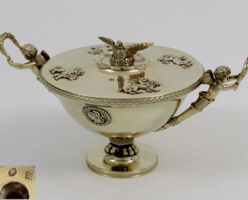 French silver-gilt bowl empire