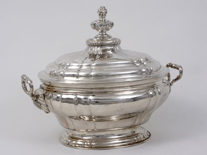silver tureen with cover, gilt inside