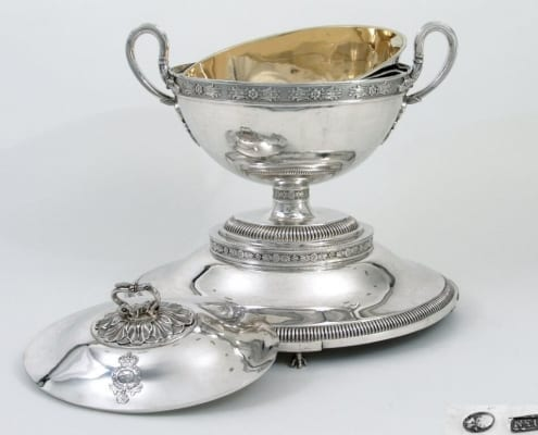 German silver tureen on stand, royal
