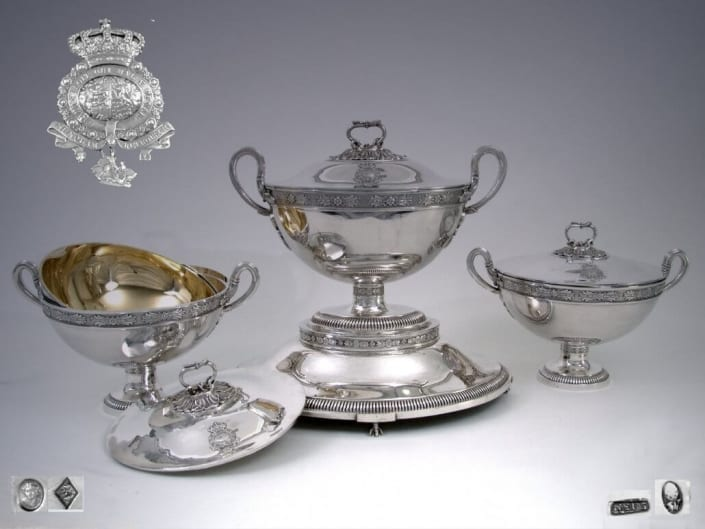 Royal silver tureens, French, German