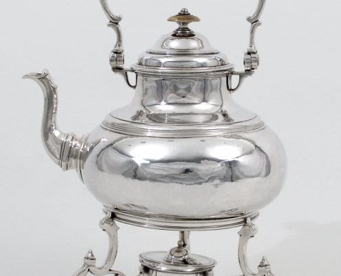 George I silver teapot on stand