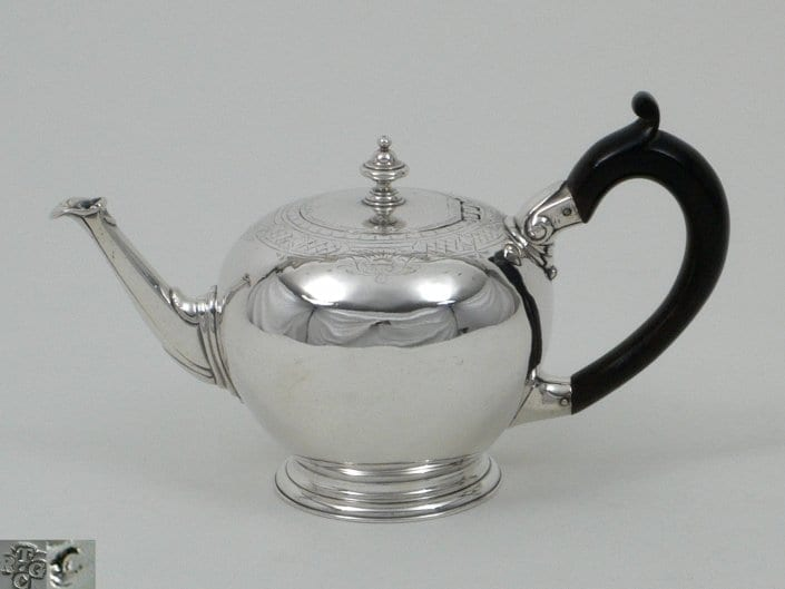 George II silver round teapot