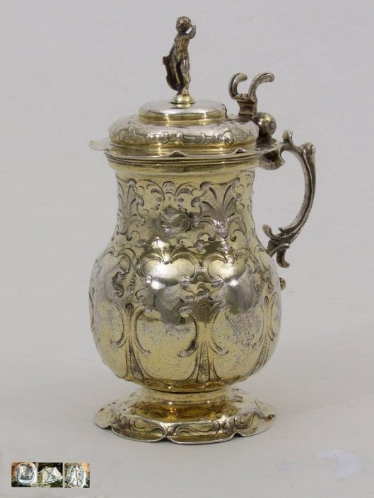 silver-gilt jug with lid, German 17th c.