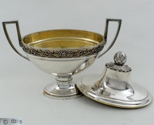 silver soup tureen gilt inside, Wroclaw