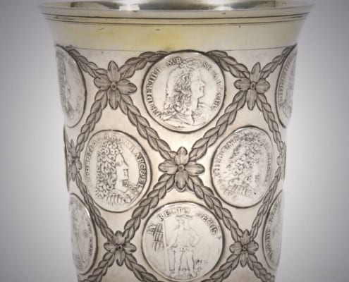 Silver, parcel-gilt beaker with coins Catherine the Great