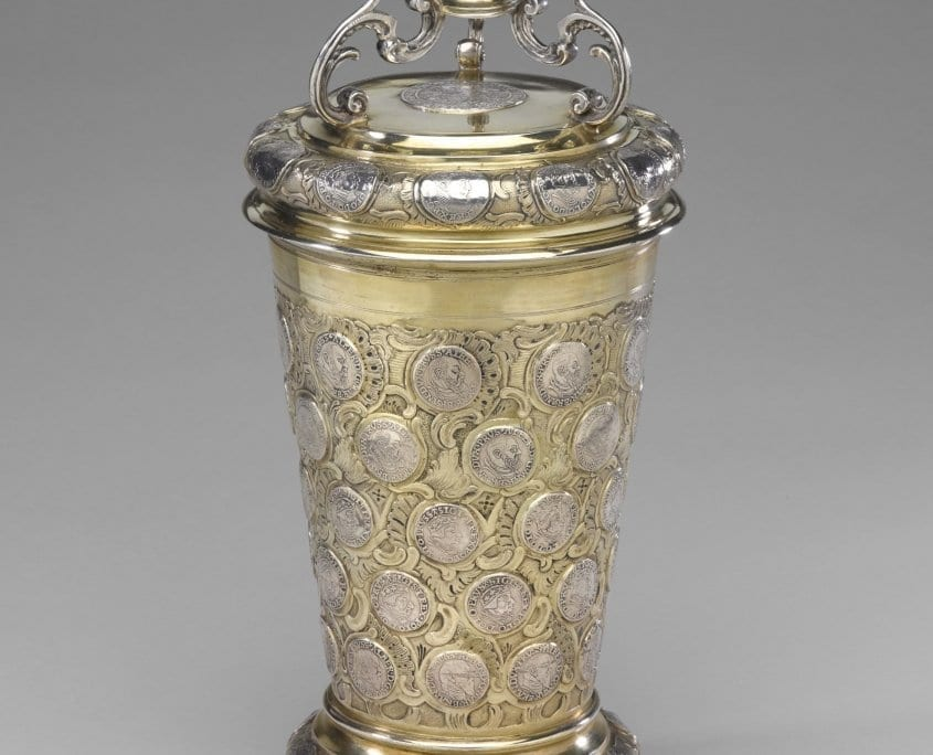 Antique silver coin beaker, German 18th century