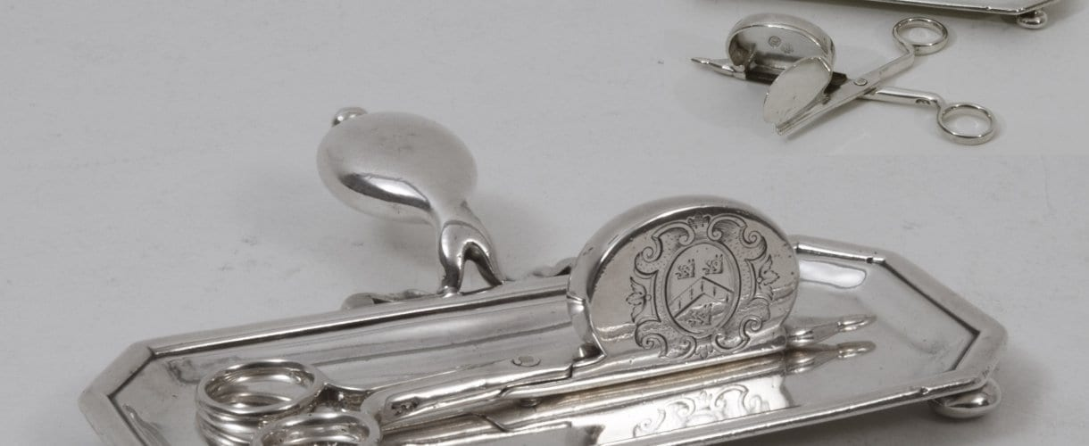 silver snuffer tray and snuffers, English