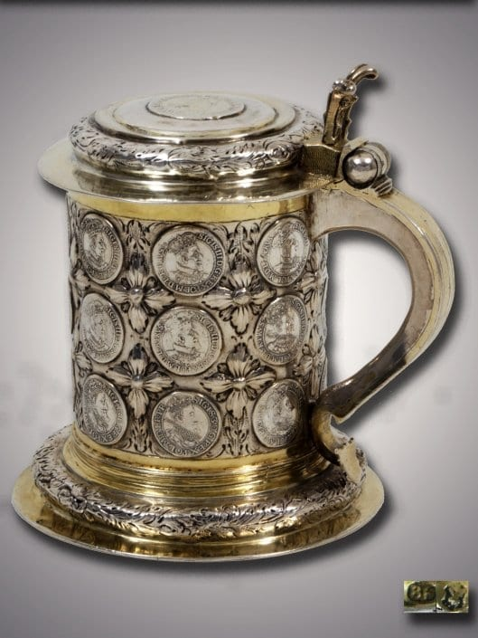 Antique Silver German Coin Tankard, Koenigsberg 18th century
