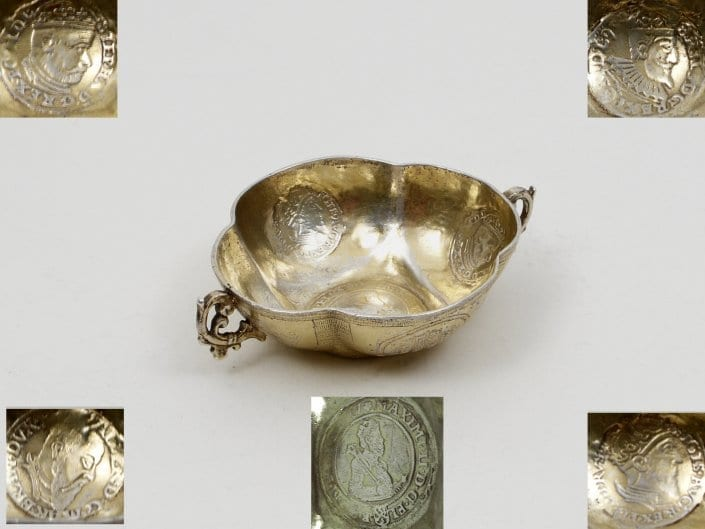 silver drinking bowl, coins 18th c.