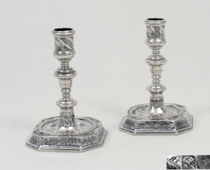 James II silver candlesticks, Chinoiserie