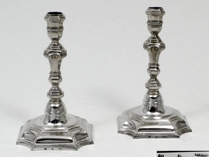 antique silver candlesticks, strict