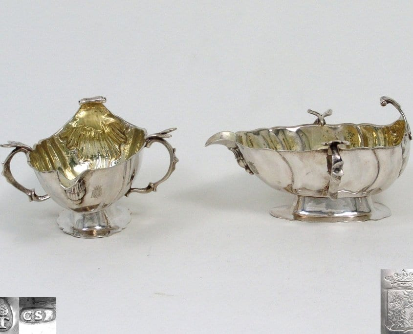 antique silver sauceboats, 18th c.