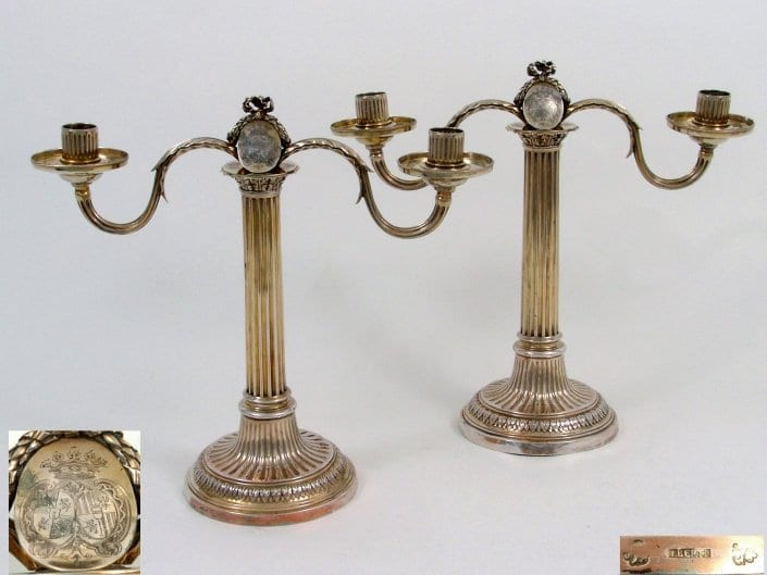 antique silver-gilt candelabra, French neoclassical