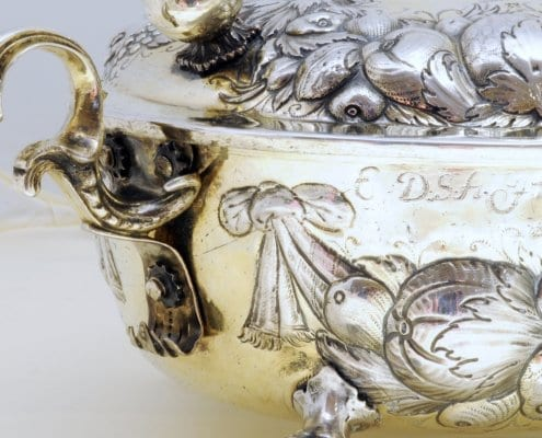 silver claw-and-ball feet, 17th c.