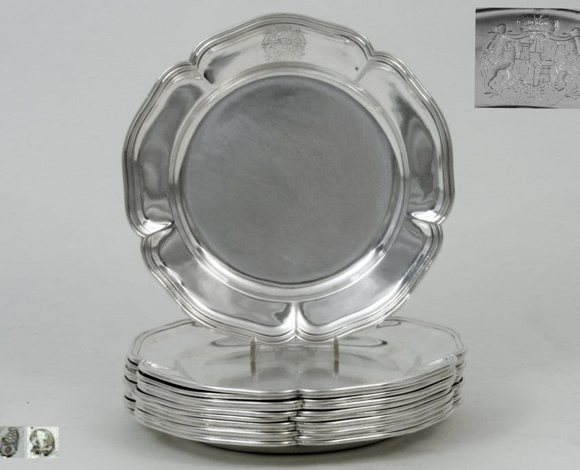 Silver dinner plates, Thurn and Taxis