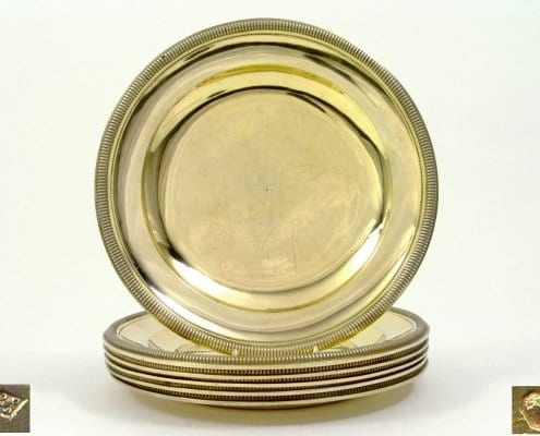 silver-gilt round dinner plates, Paris 19th c.