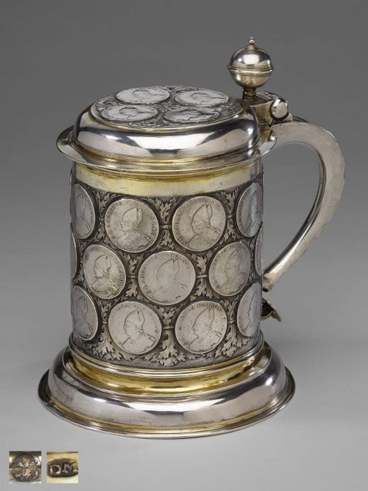 Antique silver tankard with inset coins, 17th century, Berlin