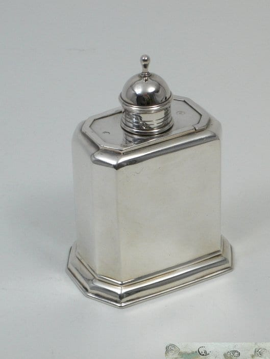 antique silver tea caddy