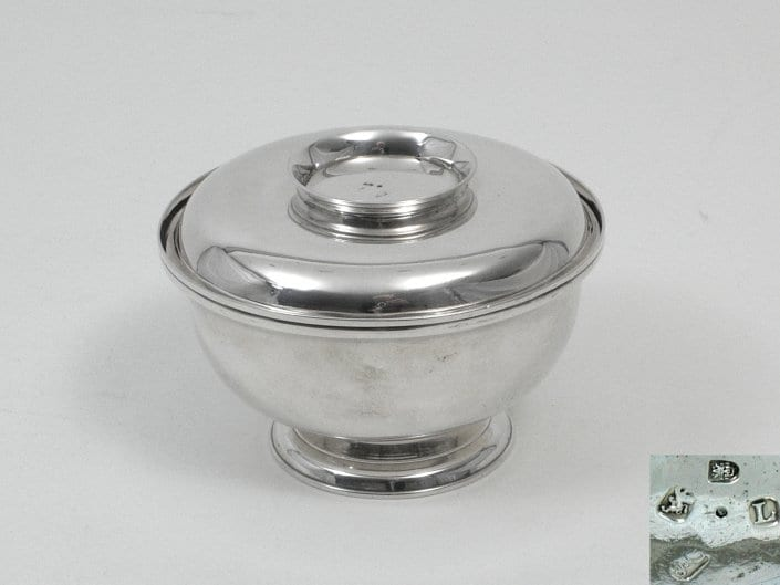antique english silver sugar bowl