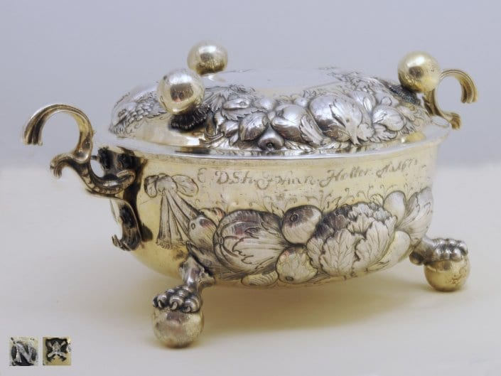 antique silver two-handled bowl and cover, Nuremberg 17th c.