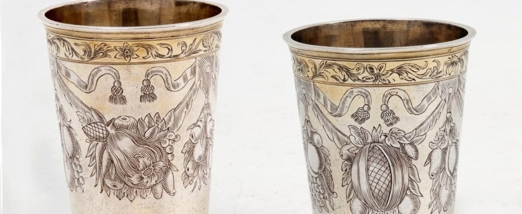 Engraved antique silver beakers baroque