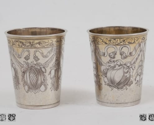 Baroque antique silver beakers patly gilt