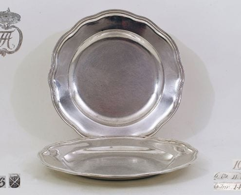 silver serving plates, silver platters